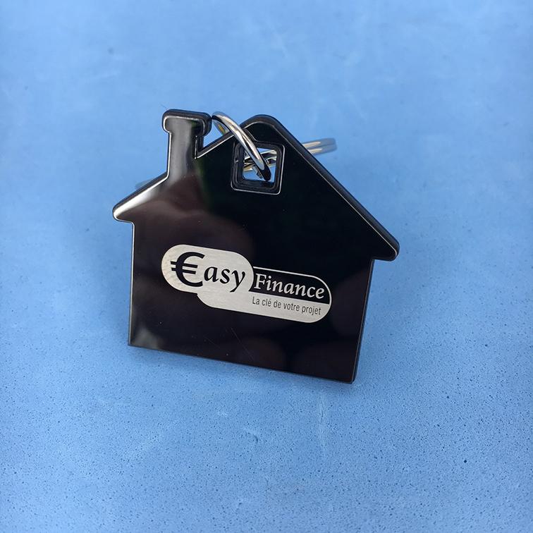 Porte clé en forme de maison avec gravure laser