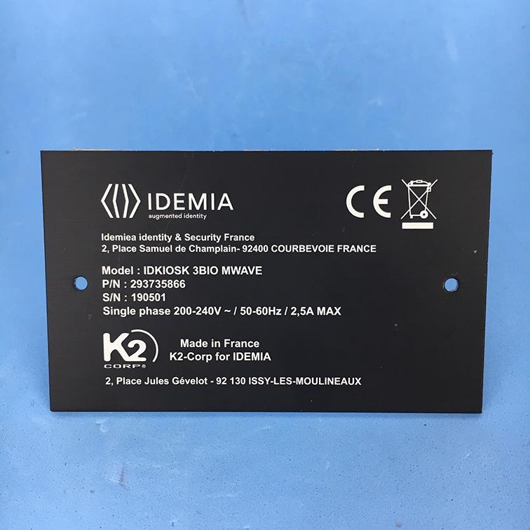 Plaque produit gravure laser avec N° de série